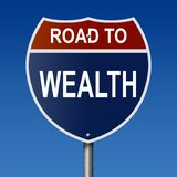 Road to Wealth sign stock illustration