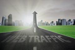 Road to web traffic rises upward Royalty Free Stock Photos