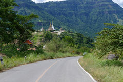 Road to 5 white buddha statue and buddhist pagoda on the hill Stock Photography