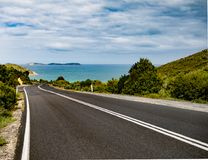 Driving down to Wilson`s Promotory, Australia stock images