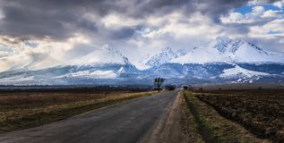 Road to winter High Tatras mountains covered with snow, Slovakia Royalty Free Stock Image
