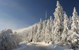 Road to winter mountain. Road to winter Jizerske mountain Royalty Free Stock Photos