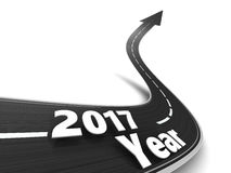 Road to 2017 year. 3d illustration of road to new 2017 year Stock Photo