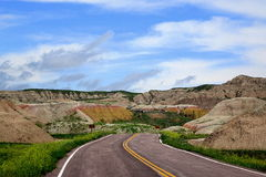 Road to Yellow Mounds, Badlands National Park, South Dakota Stock Photo