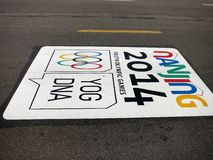 The Road to the Youth Olympic Games. The 2014 Youth Olympic Games take place in Nanjing, China from August 16-28 stock image