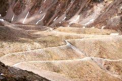 Road to Zanskar. Curly road in Himalaya stock photography