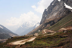 Road to Zero point (Yumesamdong) in Lachung, North Sikkim. Inida Stock Images