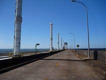Road on the top od Itaipu binacional dam at rio parana Royalty Free Stock Image