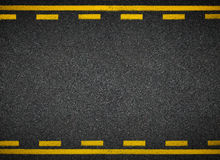 Road top view. Asphalt highway yellow line marks. Stock Image