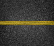 Road top view. Asphalt highway yellow marks. stock photography