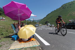 On the road of the Tour de France, in La Pierre Saint-Martin Stock Photo