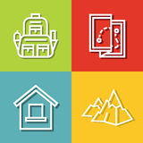Road tourist icons in line style on color background Royalty Free Stock Photo