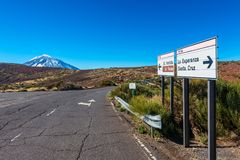 Road towards El Teide Volcano in Tenerife royalty free stock photos