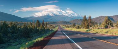 Road towards Mounts Shasta and Shastina in California, United States Highway 97 in Northern California stock image