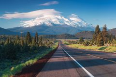 Road towards Mounts Shasta and Shastina in California, United States Highway 97 in Northern California royalty free stock photos