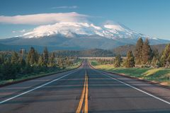 Road towards Mounts Shasta and Shastina in California, United States Highway 97 in Northern California royalty free stock photography