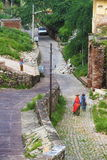 Road Towards Pink City. Old road from Amer city to Amber fort.Jaipur,India stock photography