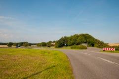 Road towards village in Denmark. Road towards village of Askeby on island of Moen in Denmark Stock Photo