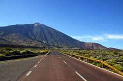 Free Road Towards Volcano El Teide At The Valley Of National Park Of Las Canadas,Tenerife. Royalty Free Stock Photo - 114626745