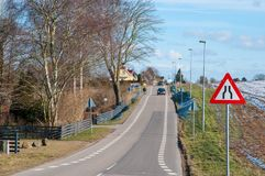 Road in town of Tollose in Denmark. On a cold winter day Royalty Free Stock Photos