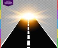 Road track to golden flash light flare vector illustration