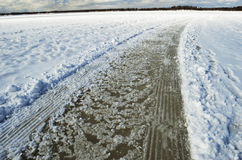 Road and tracks on frozen snowcovered lake Royalty Free Stock Photo