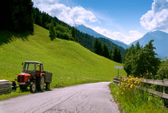 On the road with a tractor Royalty Free Stock Images