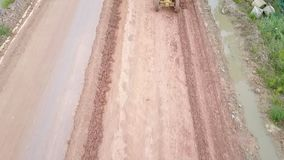 Road Tractor, roller on the road repair site. Road construction equipment. stock video