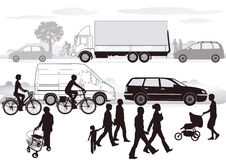 Road traffic. Illustration with cars, bikers and pedestrians Royalty Free Stock Images
