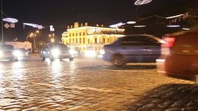 Road traffic. UKRAINE, KIEV, AUGUST 24, 2012: Road traffic in nighttime (with stereo sound) in Kiev, Ukraine, August 24, 2012 stock footage