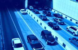 Road traffic. View from above toned in blue color Royalty Free Stock Images