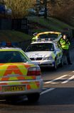 Road traffic accident 5. Police attend an incident on a country lane in England Stock Image