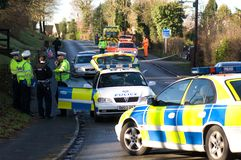 Road traffic accident 6. Police attend an incident on a country lane in England Stock Image