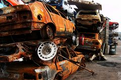 Road traffic accident, car fire Royalty Free Stock Photography
