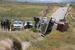 Road traffic accident overturned truck Stock Photography