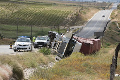 Road traffic accident overturned truck Stock Image