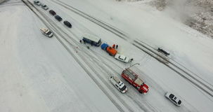 Road traffic accident in winter. From the air stock footage