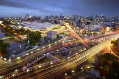 Road traffic at Bangkok city with skyline at night by technic long exposure shoot, Thailand.  Stock Image