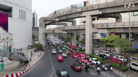 Road traffic in Bangkok, Thailand. THAILAND, BANGKOK APRIL 11, 2014: Road traffic in Bangkok, Thailand stock video