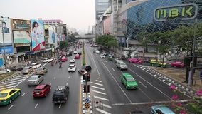 Road traffic in Bangkok, Thailand. THAILAND, BANGKOK, APRIL 1 2014: Road traffic in Bangkok, Thailand stock video footage