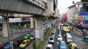 Road traffic in Bangkok, Thailand. THAILAND, BANGKOK, APRIL 11 2014: Road traffic in Bangkok, Thailandn stock footage