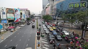 Road traffic in Bangkok, Thailand. THAILAND, BANGKOK, APRIL 11 2014: Road traffic in Bangkok, Thailandn stock video footage