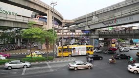 Road traffic in Bangkok, Thailand. THAILAND, BANGKOK, APRIL 11, 2014: Timelapse of road traffic in Bangkok, Thailand stock video footage