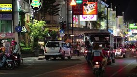 Road traffic on the Beach Road in Pattaya, Thailand stock video footage