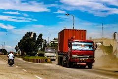 Road traffic. At belawan city north sumatera indonesia stock photos