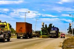 Road traffic. At belawan city north sumatera indonesia royalty free stock photo