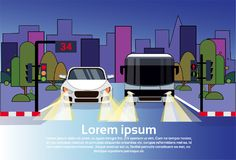Road Traffic With Car And Bus At Night Over City Buildings Background. Flat Vector Illustration Royalty Free Stock Images