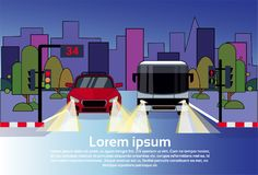 Road Traffic With Car And Bus At Night Over City Buildings Background. Flat Vector Illustration Royalty Free Stock Photo