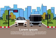 Road Traffic With Car And Bus Over City Buildings Background. Flat Vector Illustration Stock Image