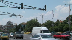 Road traffic in the center of Varna, Bulgaria stock footage